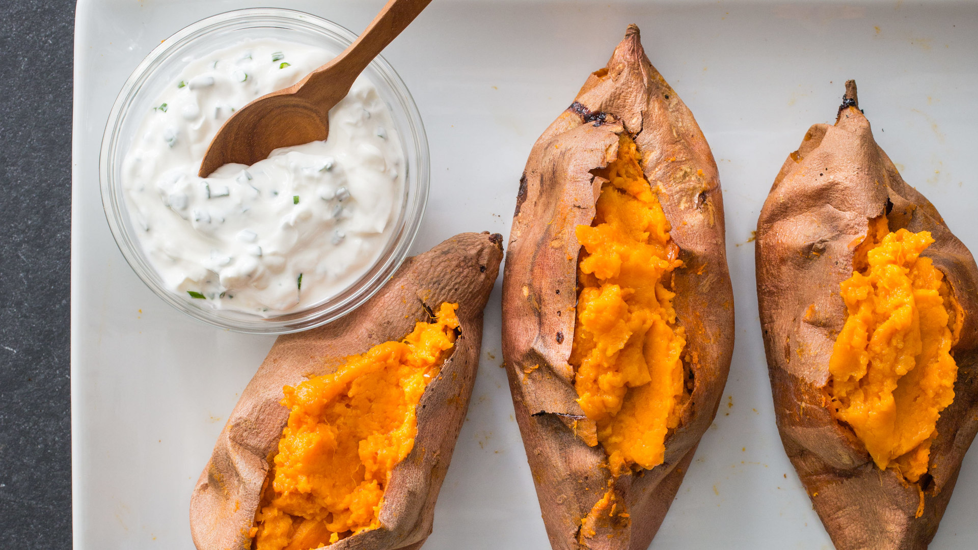 Baked sweet potato in microwave then oven